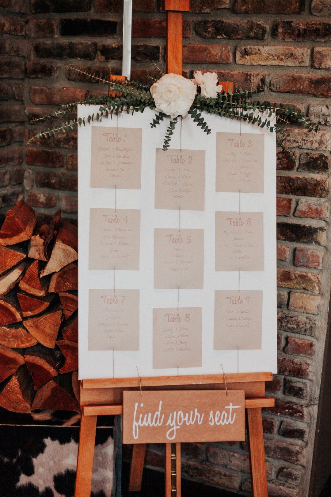 Inspiration für besonderen Sitzplan für eine Boho-Hochzeit