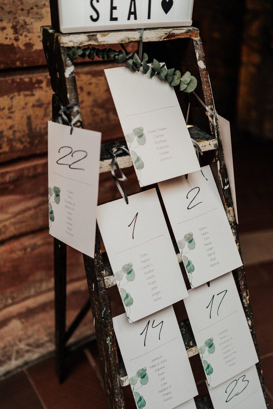 Inspiration für den Sitzplan. Boho Hochzeitsdekoration bei einer Hochzeit in Wiesbaden und Umgebung
